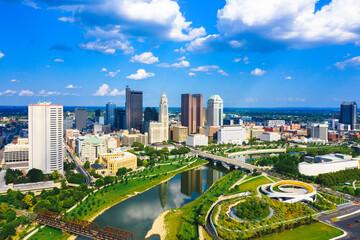 Fototapeta Aerial view of Downtown Columbus Ohio with Scioto river
