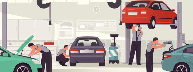 Fototapeta Car service and repair. Auto workshop interior, mechanics men service vehicles. Vector illustration obraz