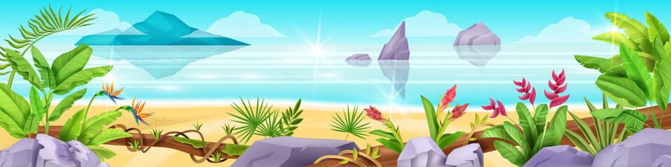 Beach vector tropical landscape, paradise vacation ocean view, exotic jungle nature plants, vine, stone. Summer Hawaii environment background, island flowers, fern, liana. Heaven beach landscape