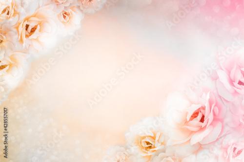 light pink and white rose floral border vintage background design for mother's day card
