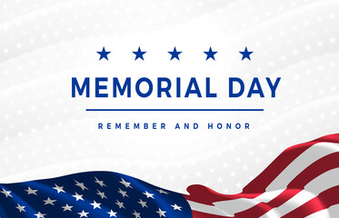 Fototapeta Memorial Day - Remember and Honor Poster. Usa memorial day celebration. American national holiday