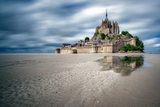 The Mont Saint Michel during the low tide. Normandy, France