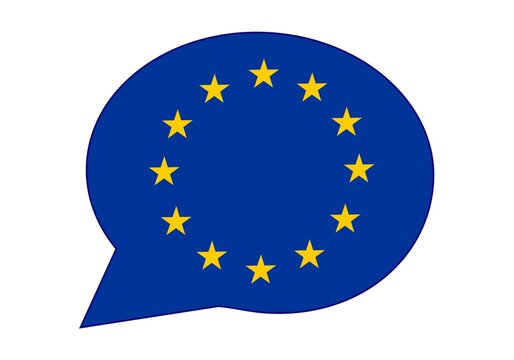 Europa, la CEE, los europeos dicen, hablan u opinan. Bocadillo con la bandera de la Unión Europea o UE. La voz de la UE. Mercado común europeo.