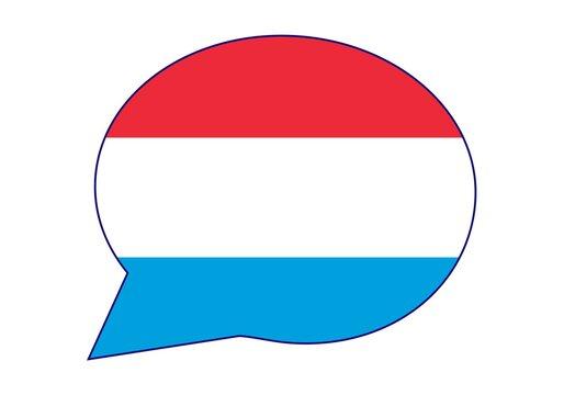 Luxemburgo dice, habla u opina. Bocadillo con la bandera de Luxemburgo. La voz de Luxemburgo.