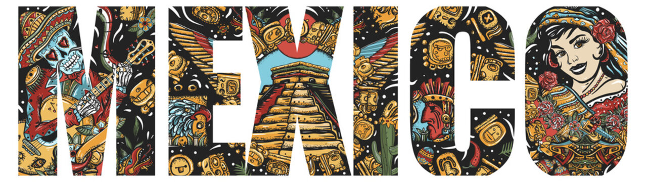 Mexico slogan. Mayan concept. Day Of Dead art. Old school tattoo vector art. National culture and people. Double exposure lettering. Skeleton with guitar, mexican woman and aztec pyramids