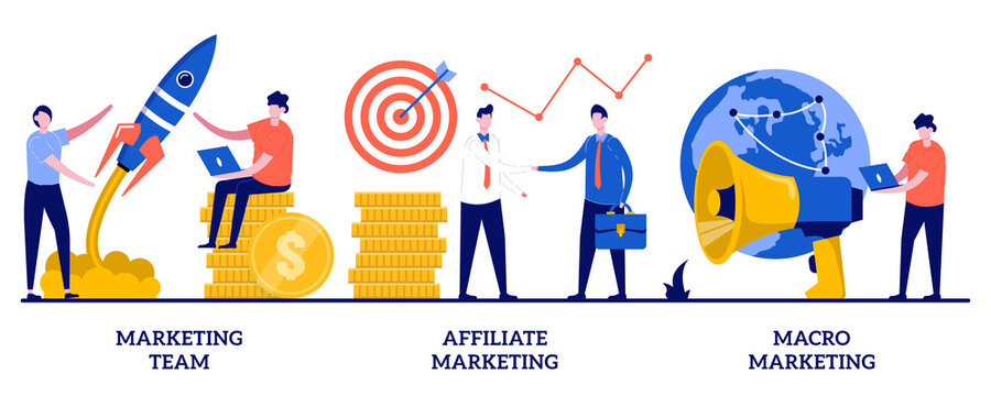 Marketing team, affiliate marketing, macro marketing concept with tiny people. Professional marketers service abstract vector illustration set. Advertising business, worldwide networking metaphor