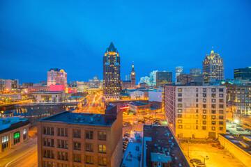 Fototapeta Downtown skyline with Buildings in Milwaukee USA obraz