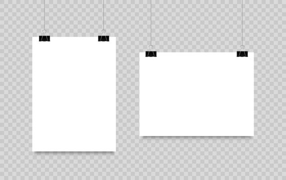 Blank poster hanging on clips. A4 paper page In landscape and portrait formats. Realistic white paper sheet. Mockup poster for design.