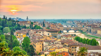 Florence city downtown skyline cityscape of  Italy