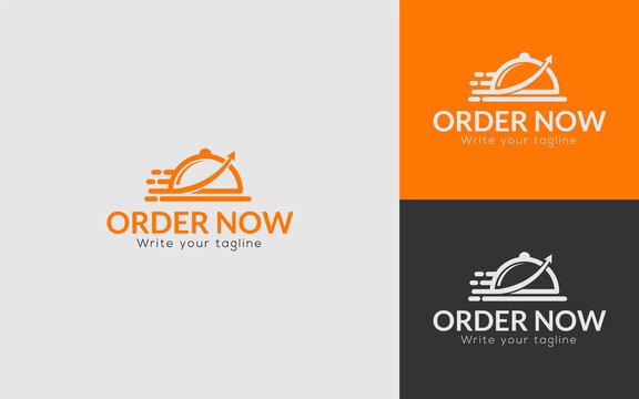 online ordering food delivery logo design template