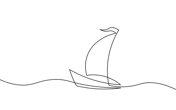 Single continuous line art sea boat icon. Yacht travel tourism concept silhouette symbol design. One sketch outline drawing vector illustration