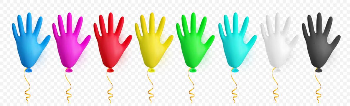 Realistic colorful medical latex glove balloon. Shine helium balloon made from medical latex glove. Vector illustration