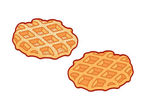 Cartoon Belgian Liege waffles