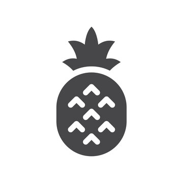 Pineapple black vector icon. Simple fruit symbol with leaf.
