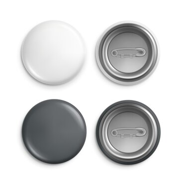 Round badges. White plastic badge mockup, isolated buttons witn pins. Realistic round magnet with metallic blank back side vector set