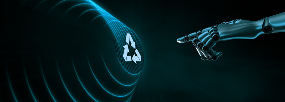 Recycle zero waste ecology saving technology concept. Robotic hand pressing button 3d render