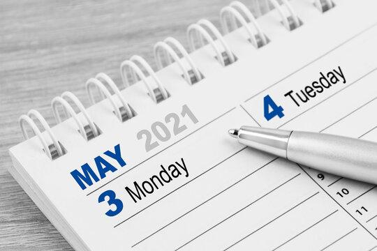 Calendar 2021  May 3   Monday