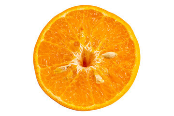 Fototapete - Top view cross section of mangarin orange or Citrus reticulata on white background with clipping path.
