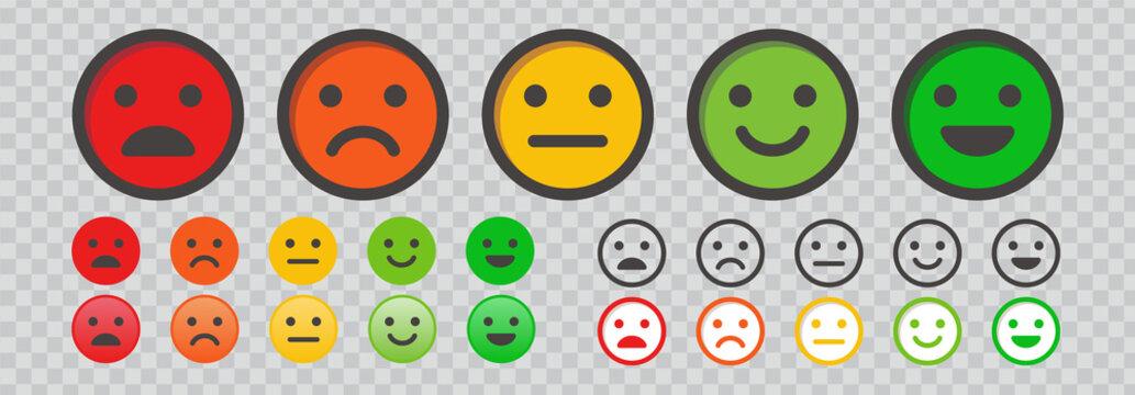 顧客満足度の評価、顔アイコンでのフィードバック。