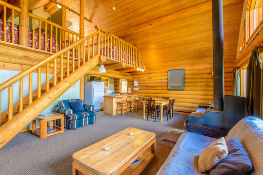 Interior design of a luxury living room in a small log cabin or shale.
