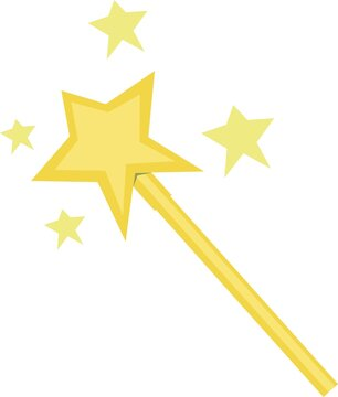 Vector emoticon illustration of a yellow magic wand with stars