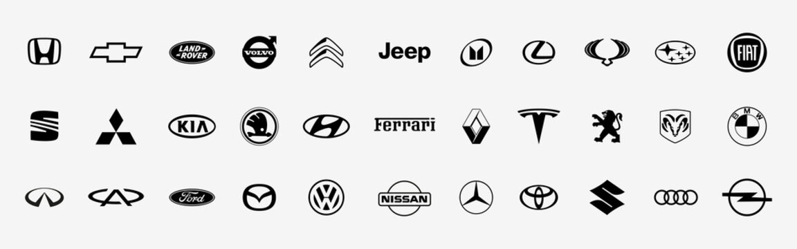 Collection of popular car brands. Automobile logo. White background. Vector illustration. Kyiv, Ukraine - April 18, 2021