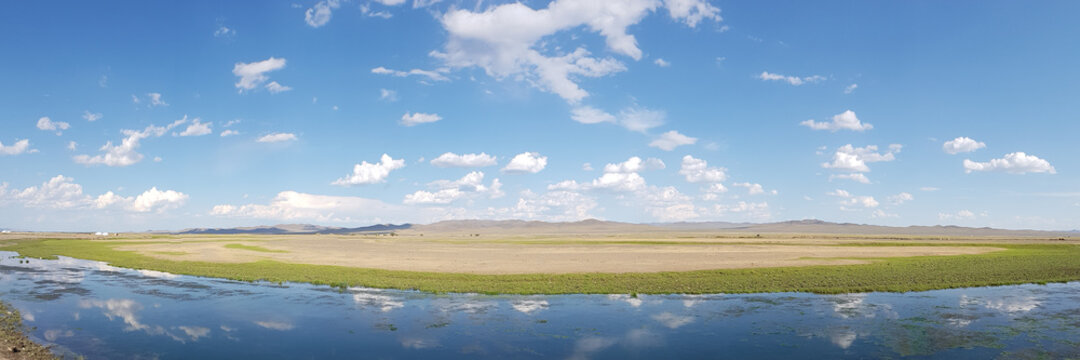 Landscape of steppes and hills in central Mangolia, in Hustai National Park.