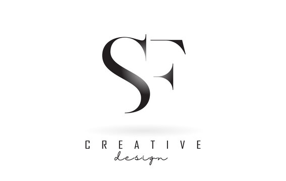 SF s f letter design logo logotype concept with serif font and elegant style. Vector illustration icon with letters S and F.