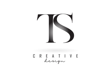 Fototapeta TS t s letter design logo logotype concept with serif font and elegant style vector illustration. obraz