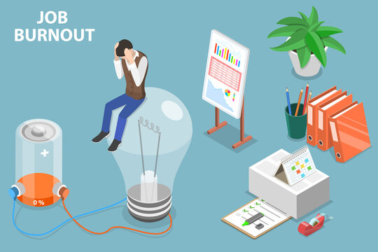 3D Isometric Flat Vector Conceptual Illustration of Depressed Man.