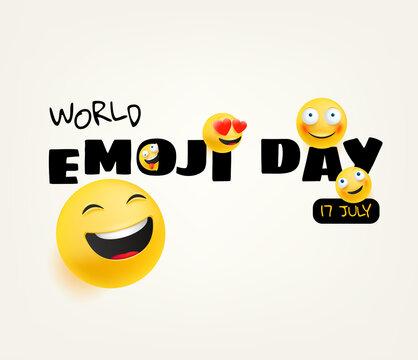 World emoji day greeting card. Happy emoji day vector greeting card. 17 of july