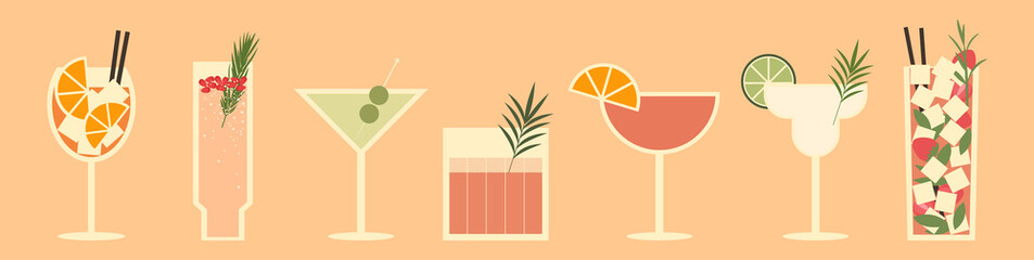 Set of cocktails. An illustration of classical drinks in different types of glasses. Vector illustration of summer cocktails. Banner with soft and alcohol drinks.