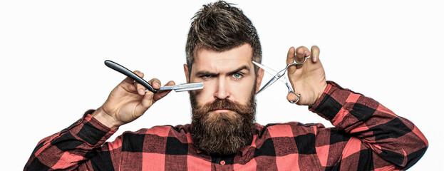 Bearded man, bearded male. Portrait of stylish man beard. Barber scissors and straight razor, barber shop. Vintage barbershop, shaving