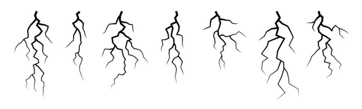 Vector lightning silhouettes set. Elements for thunderstorm design.