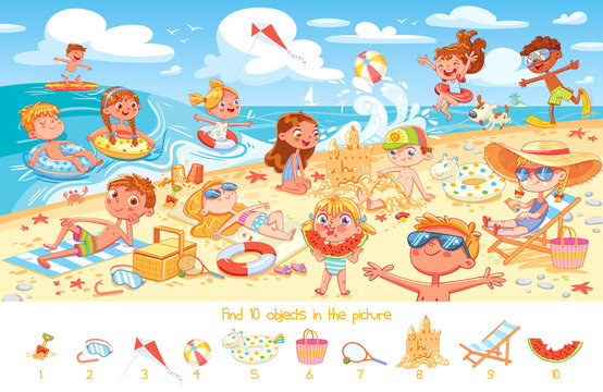 Find 10 objects in the picture. Group of kids having fun on beach
