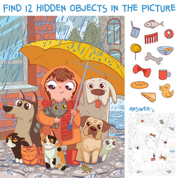 Find hidden objects. Under umbrella. Little girl protects homeless pets from rain