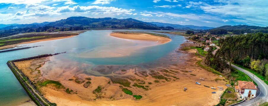 Aerial view of Bonhome beach in estuary of Villaviciosa.