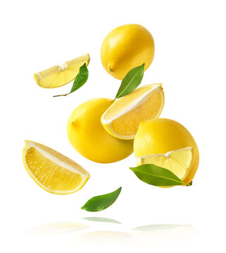 creative image with fresh lemons falling in the air, zero gravity food conception