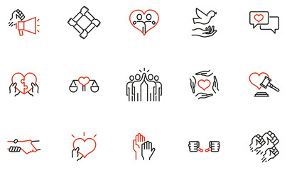 Fototapeta Vector Set of Linear Icons Related to Harmony to Relationships, Human Rights, Interaction, Joint Development and Equality. Mono Line Pictograms and Infographics Design Elements - part 3 obraz