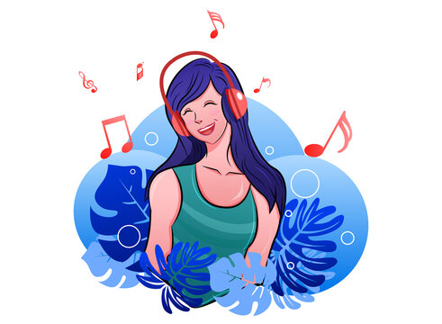Flat girl listing music. Music notes flying here and there. Background have blue Monstera leaf and circle.