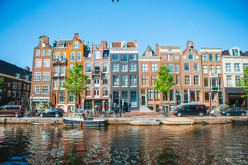 Fototapeta Traditional dutch medieval houses in Amsterdam capital of Netherlands