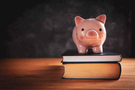 piggy bank  with a book on the table