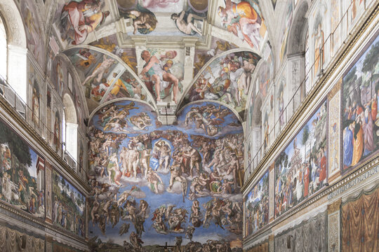 ROME, ITALY - May 15, 2019: details of the drawings of the famous Sistine Chapel