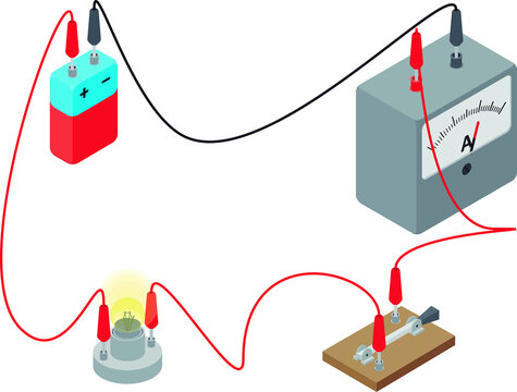 Isolated vector illustration of a simple electrical circuit made of a lamp, a battery, a switch and an ammeter, in isometric view over white backgroun