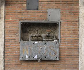 MILAN, ITALY - Mar 19, 2019: water stopcocks in the street