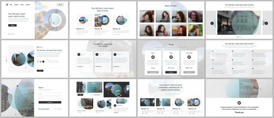 Fototapeta Presentation design vector templates, multipurpose template for presentation slide, flyer, brochure cover design with abstract circle banners. Social media web banner. Social network photo frame.