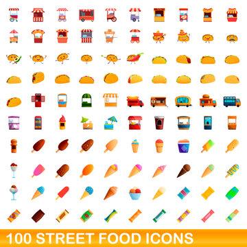100 street food icons set. Cartoon illustration of 100 street food icons vector set isolated on white background