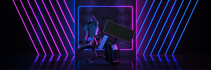 Fototapeta Professional gamers, game chair . Concept cyber sport arena. 3d rendering  obraz