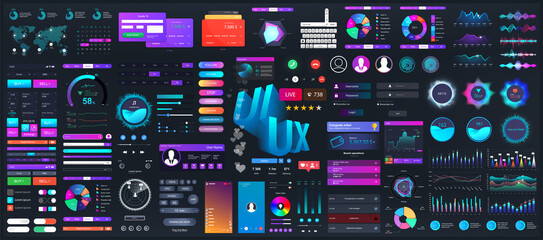 Fototapeta Dark set elements user interface. Universal collection for Web, UI, UX and KIT. Colorful interface, neon design. Big set UI elements - navigation, buttons, graphic bars and charts. Vector collection