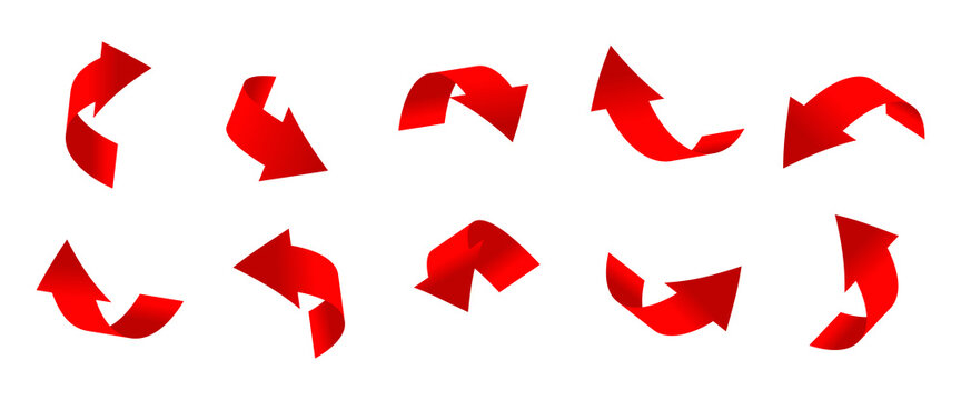Gradient red curved arrows 3d set. Icons of cursor or direction. Realistic arrow twisted in various directions. Infographic object a pointer sign. Rounded navigation. Isolated vector illustration